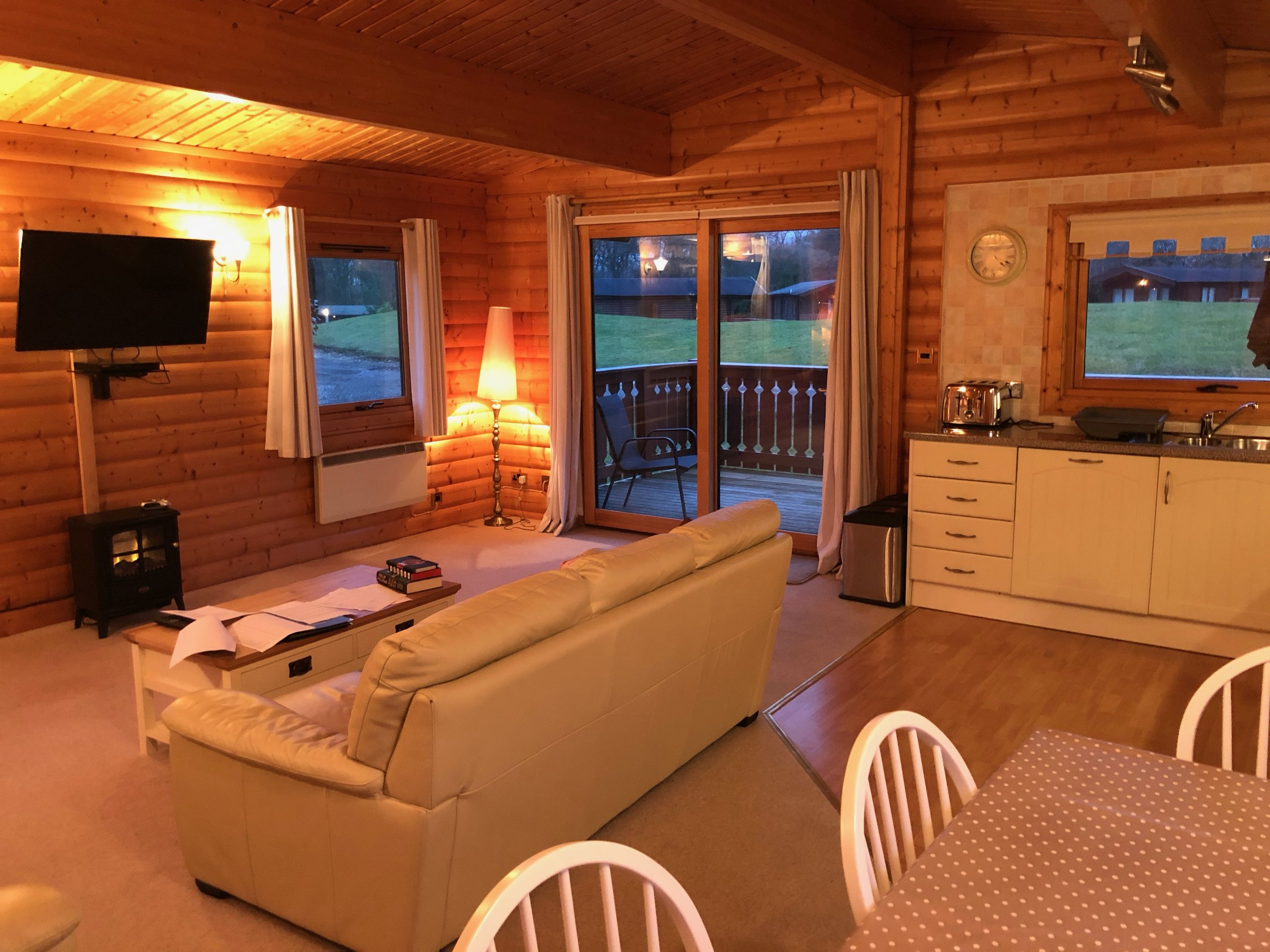 Beautifully equipped, costy lodges are ideal for cold winter evenings