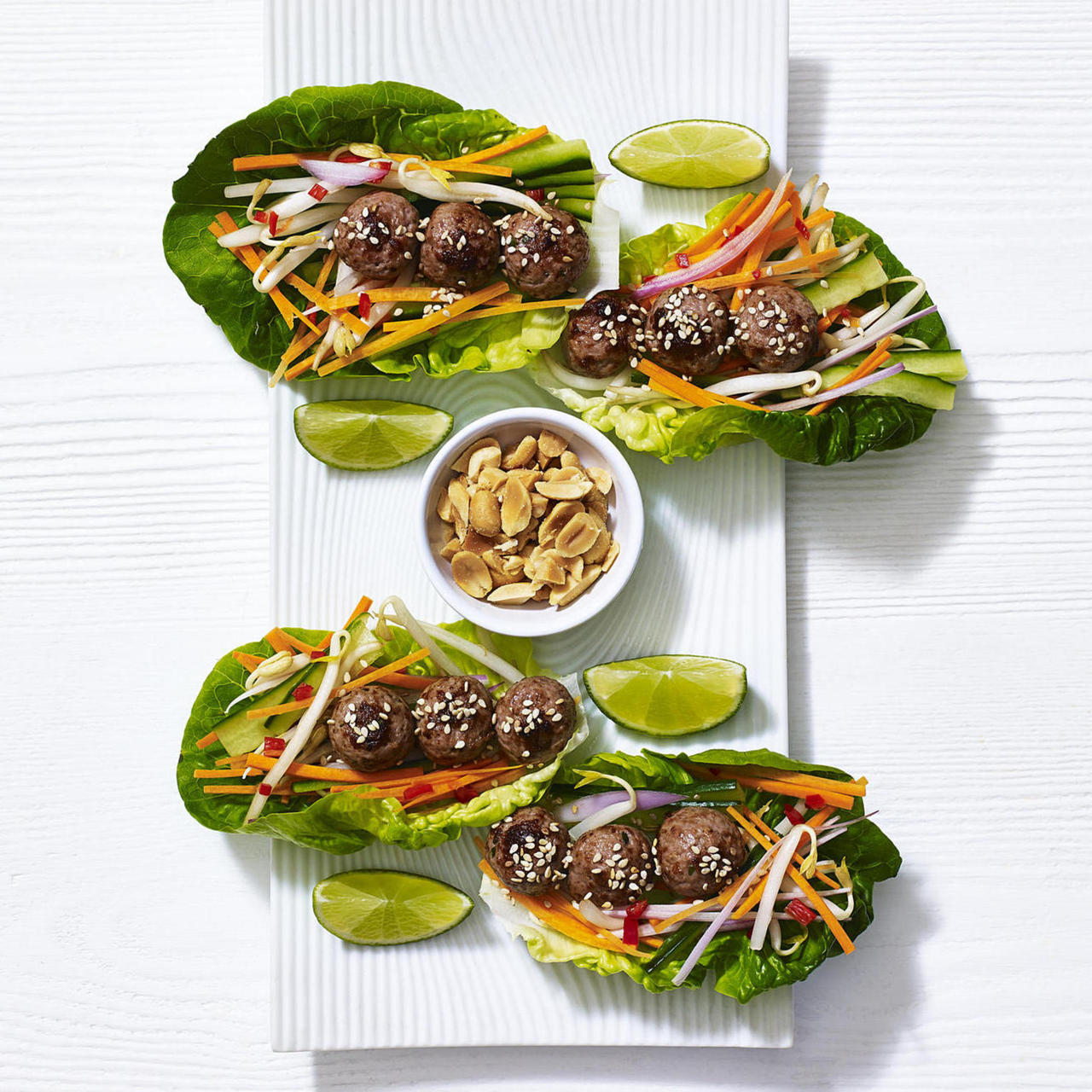 Vietnamese lettuce cups with skinny beef meatballs