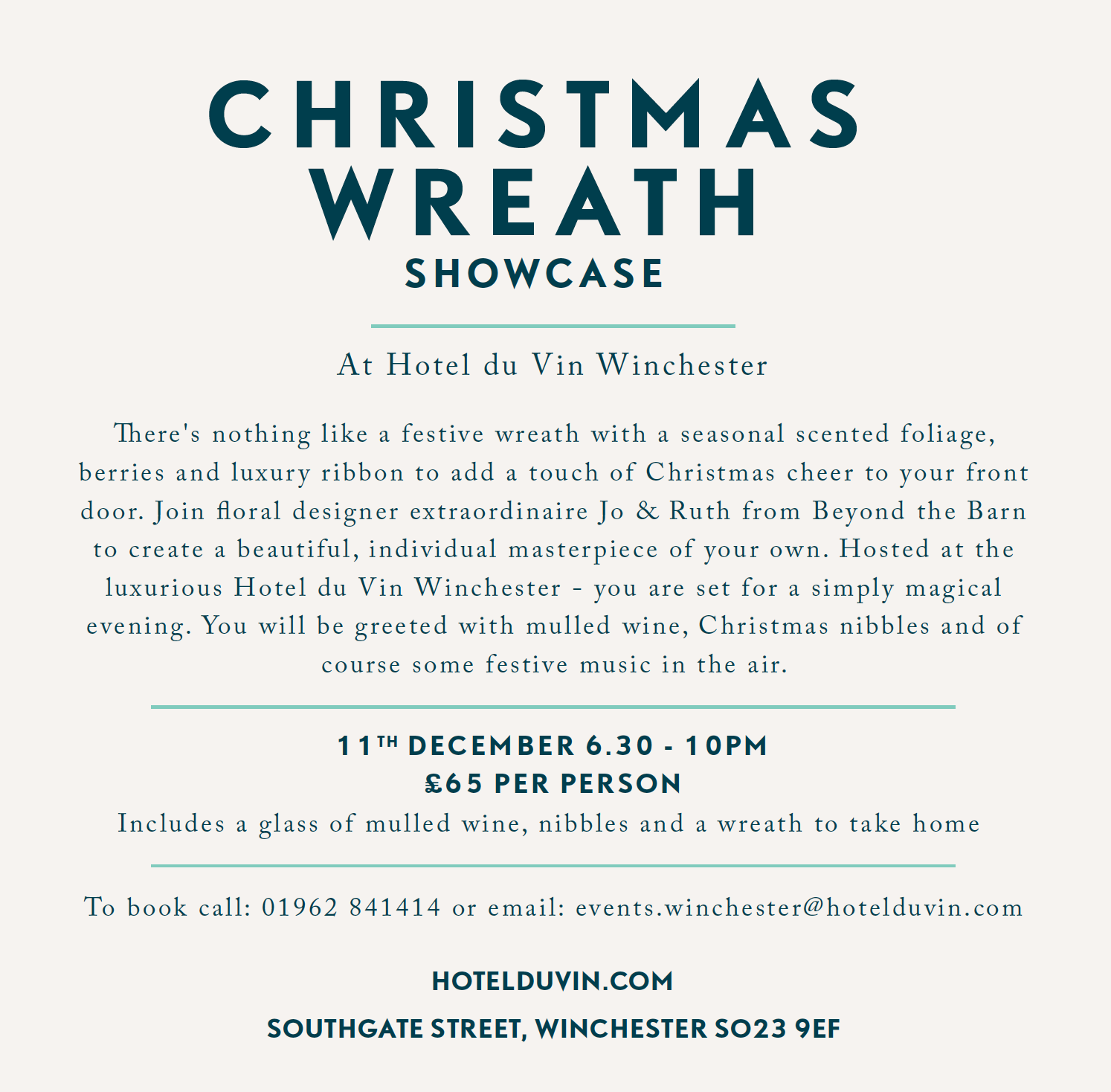 Hotel du Vin Winchester Christmas Wreath Showcase