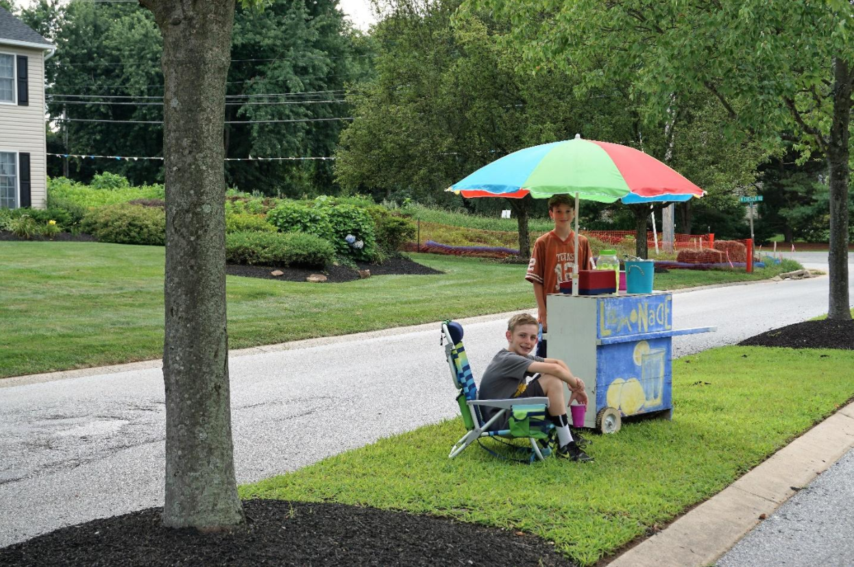 Two boys selling lemonade within 100 feet of a NGL pipeline installation in Bow Tree