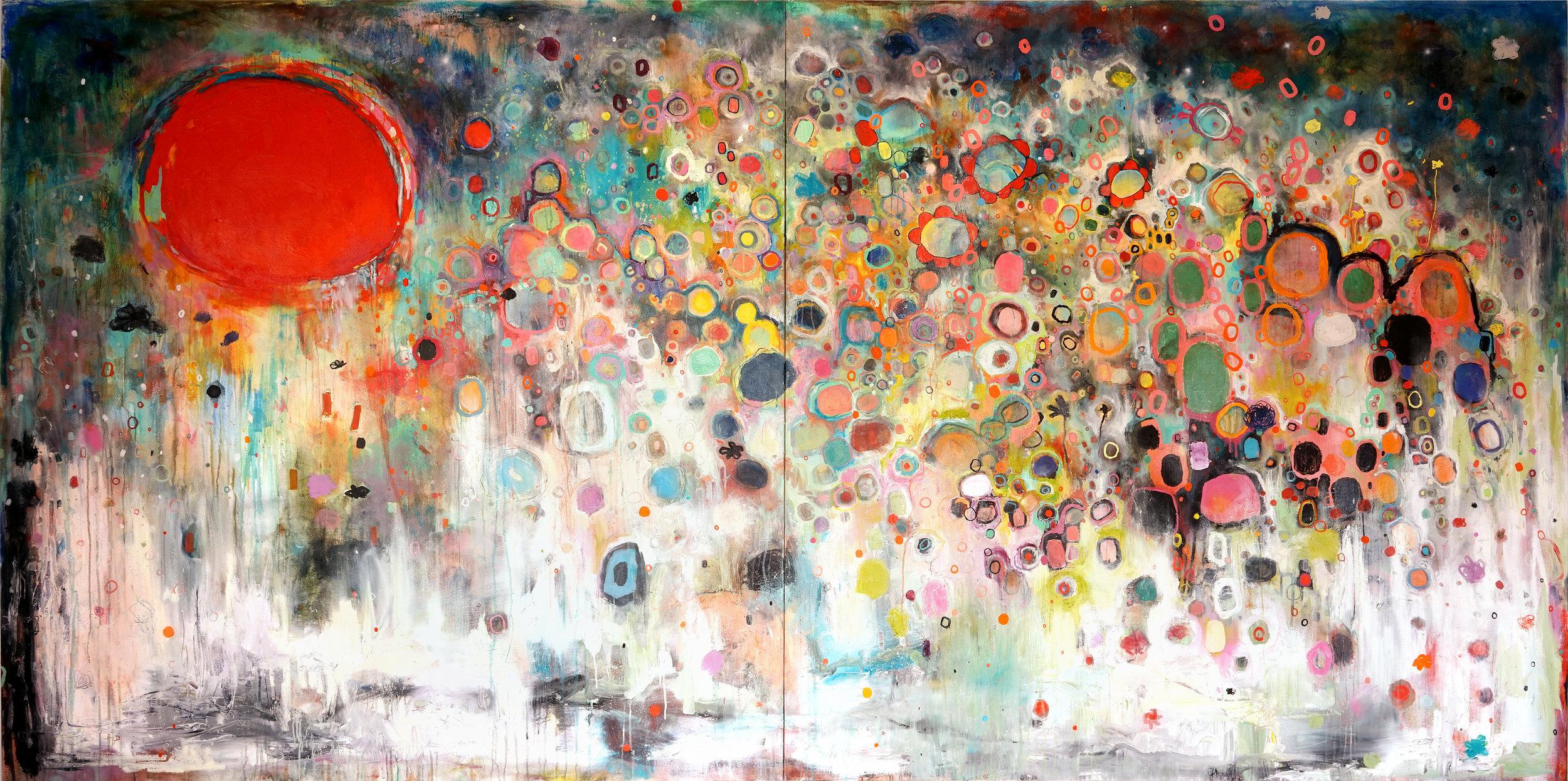 """Como la cigarra, 2019. Oil on canvas, 72 x 144."""""""