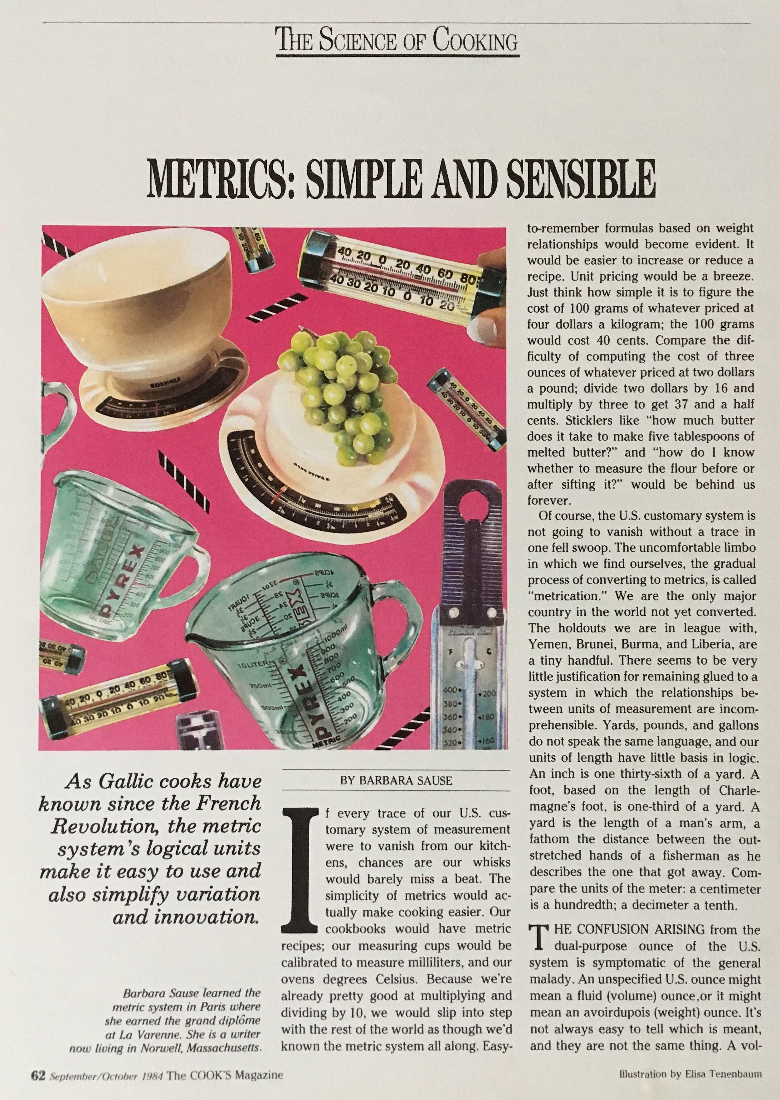 The Cook's Magazine, Metrics