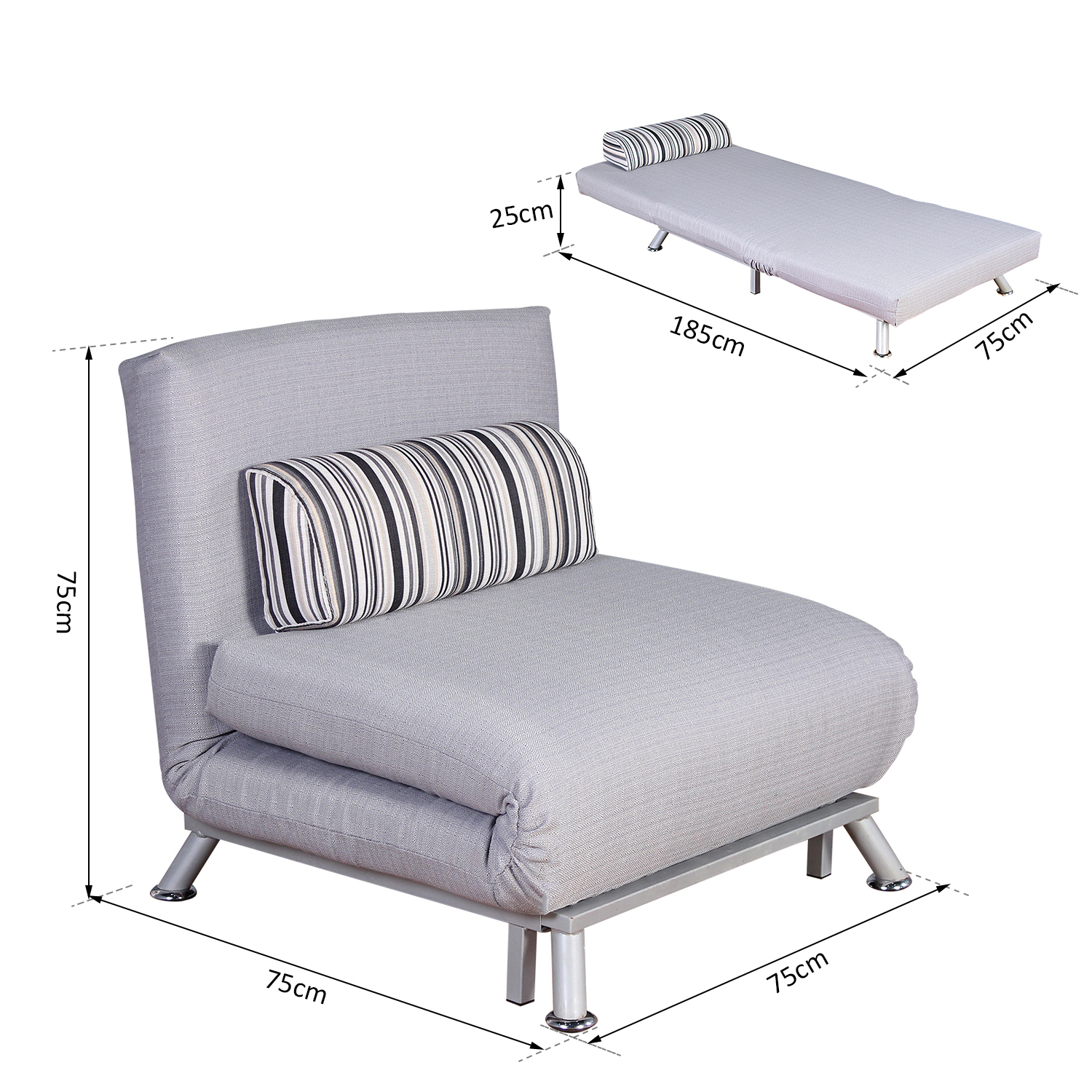 - HOMCOM Single Sofa Bed, Folding-Grey — MH Star