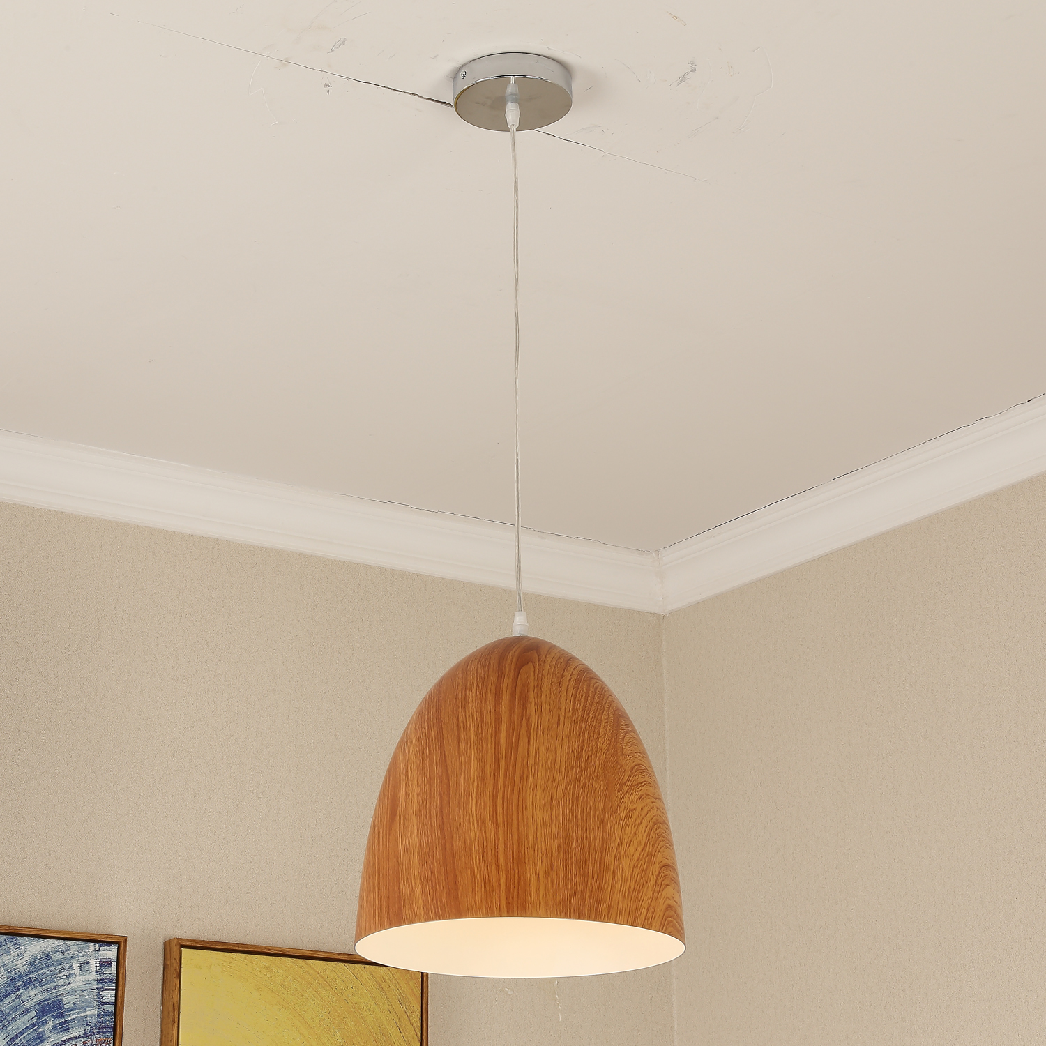 Homcom Ceiling Hanging Lamp Shade Wood Grain Colour White Mh Star