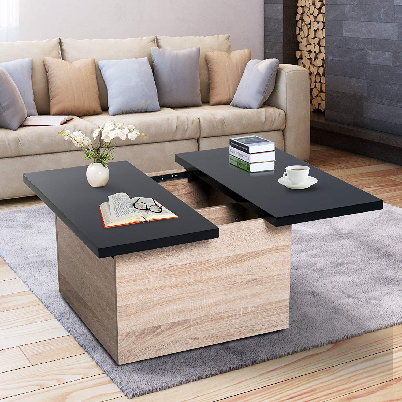 Homcom Modern Coffee Table W Storage And Sliding Top Black Oak Mh Star