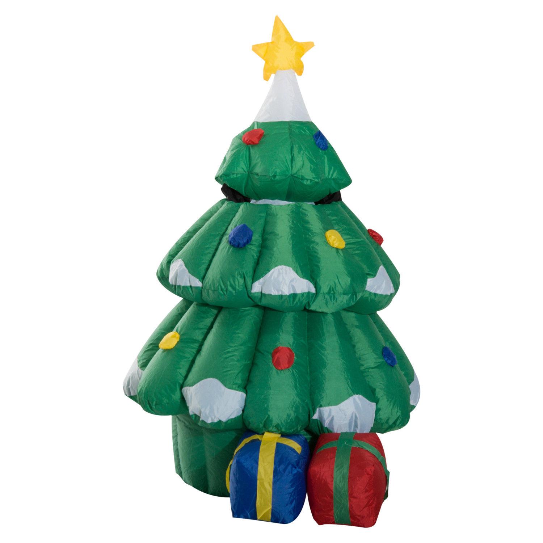 Christmas Tree Inflatable.Homcom Large Christmas Inflatable Lighted Tree W Hidden Santa Claus Mh Star