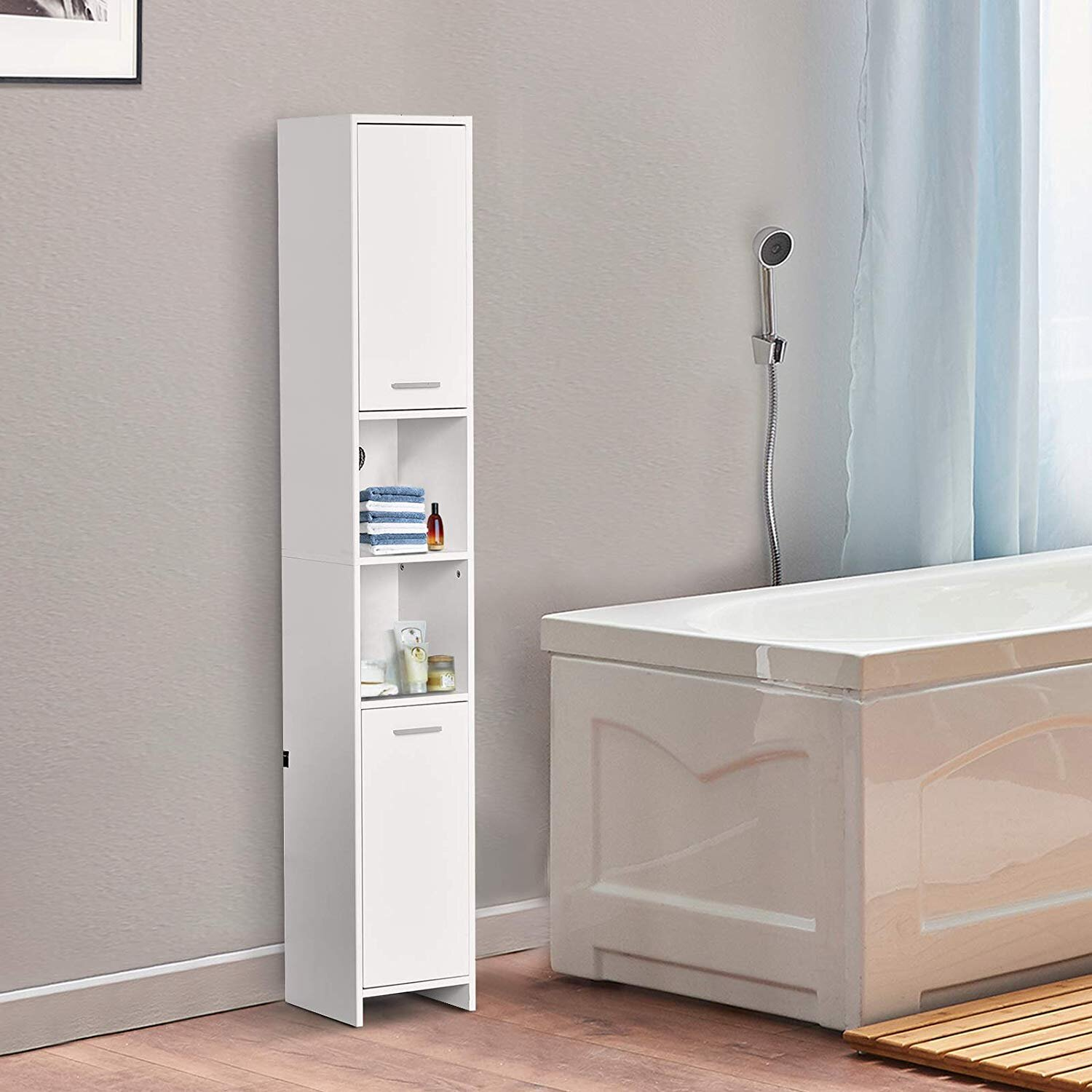Homcom Particle Board Tall Freestanding Bathroom Storage Cabinet White Mh Star