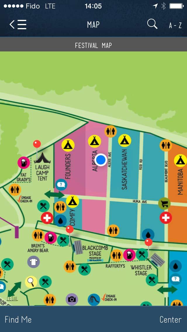 Pemberton Music Festival map app screenshot