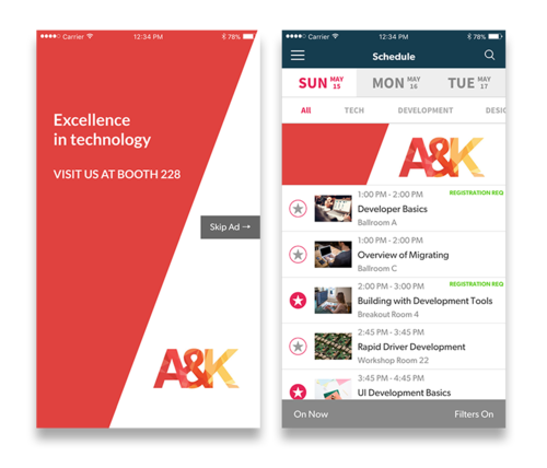 Use a splash page when attendees open the app to drive attendees to a key sponsor's booth.
