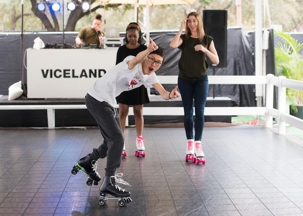 Listening to a brand inspired playlist and wearing branded skates, consumers enjoy VICE's experience on wheels at this year's SXSW (   Source   )