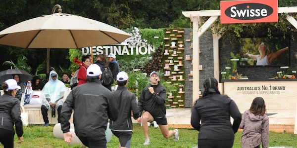 At SXSW 2019, vitamin and supplements brand Swisse hosted outdoor fitness classes that were conveniently located next to their booth. Image from    Swisse   .