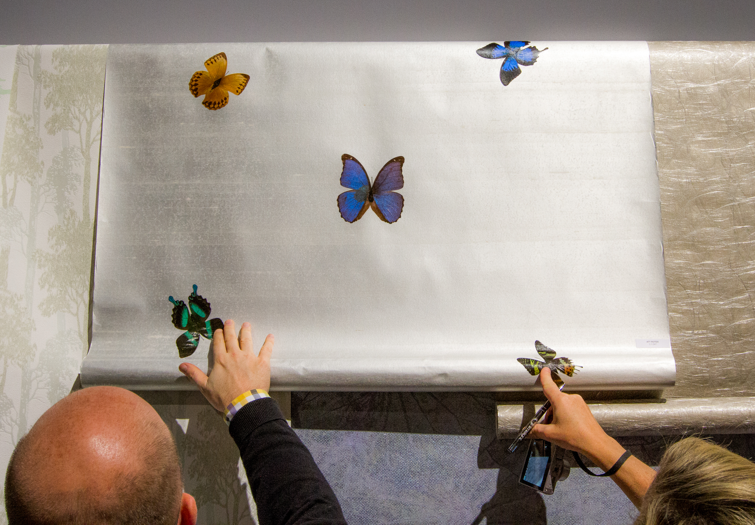 A wall covering that incorporates real butterflies.