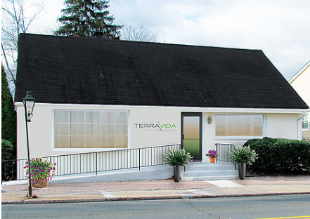 Artist's rendering of renovated building for a marijuana dispensary.
