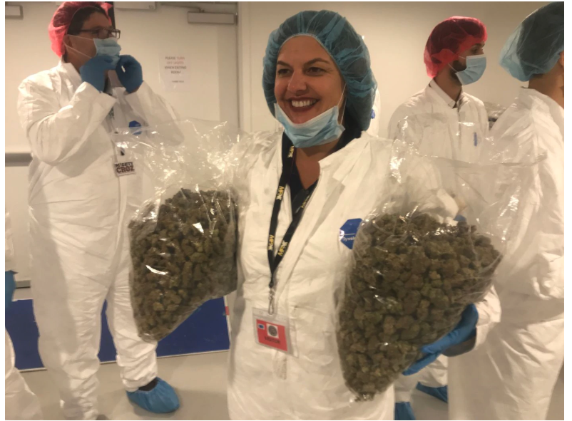 """Chris Visco, Pennsylvania's queen of cannabis, took a tour of the iAnthus marijuana grow in North Las Vegas in mid-November. Here she holds two bags of flower. Asked how much that represented in sales at her three TerraVida dispensaries, she quipped """"Not even a week."""""""