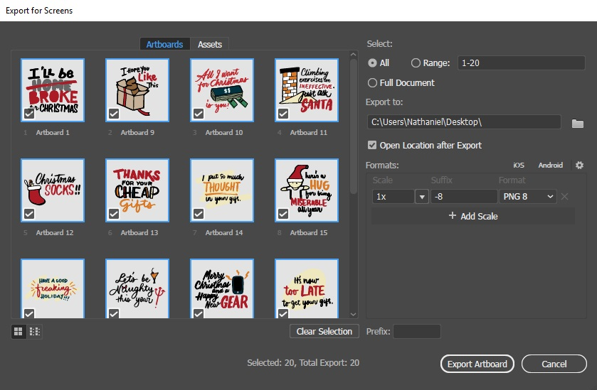 illustrator export for screens