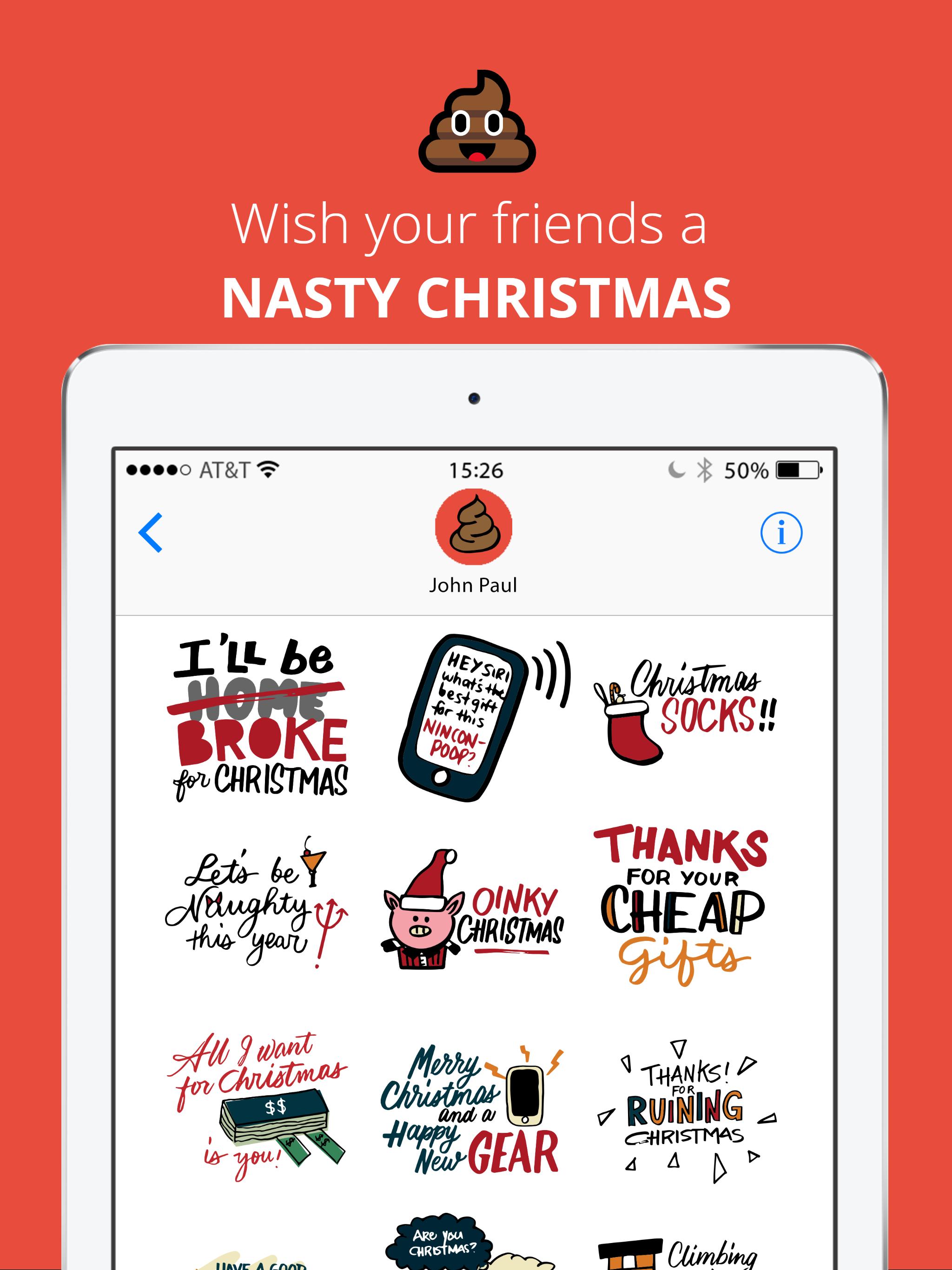 Nasty Christmas iOS Stickers