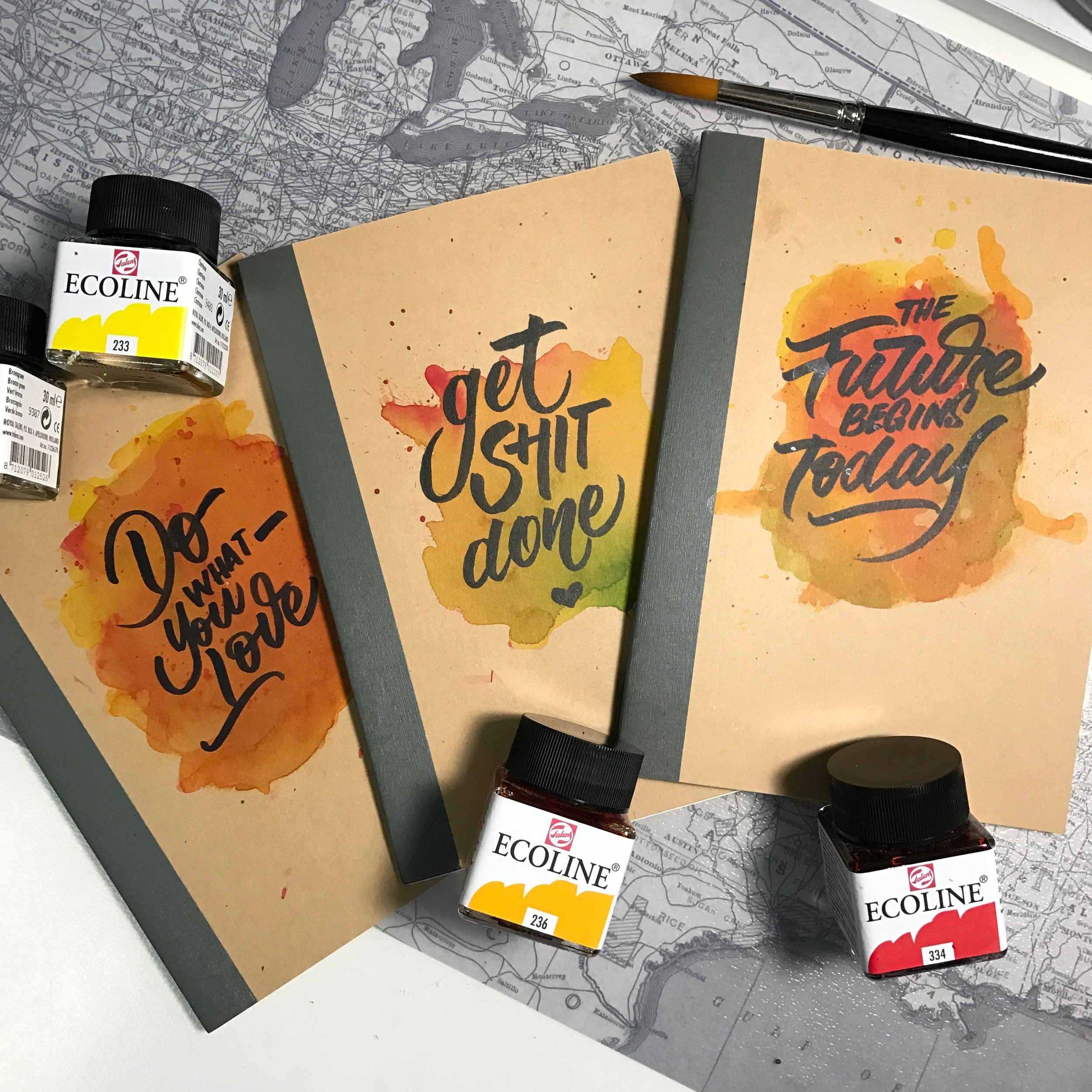 Notebook Covers with watercolor