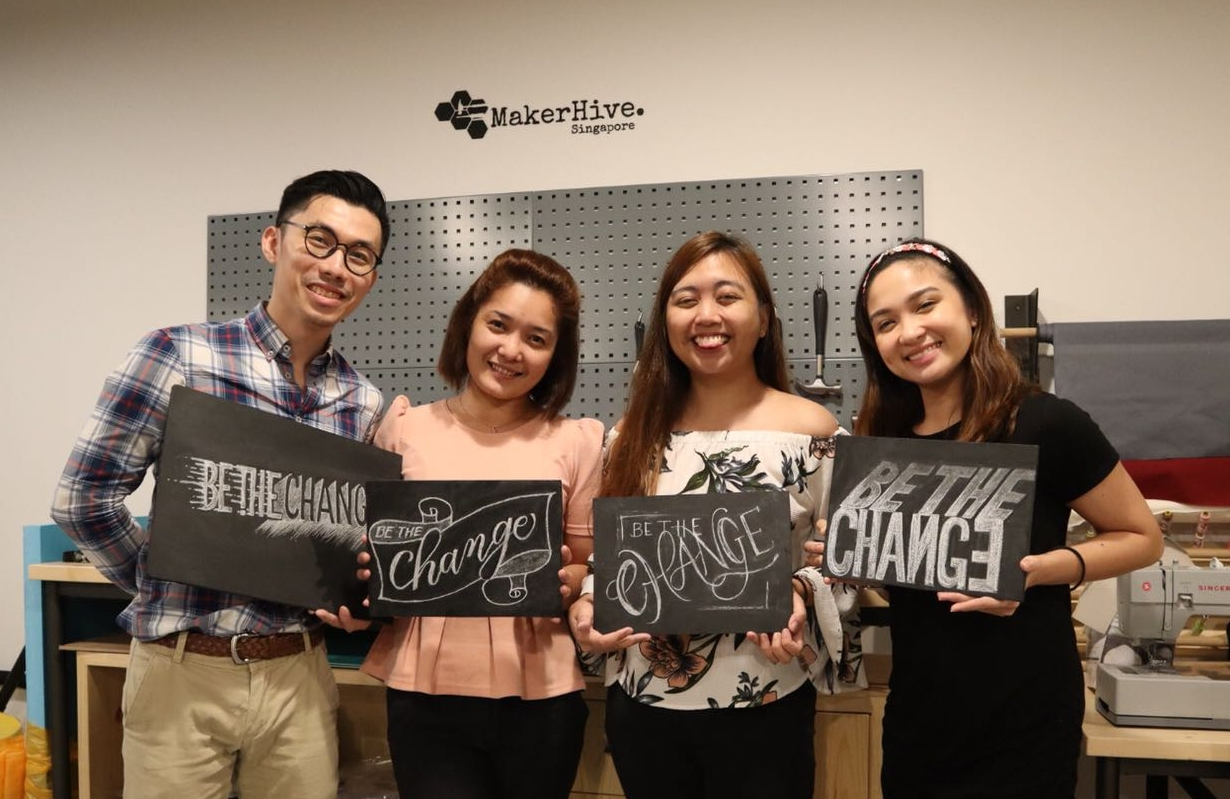 July 5, 2018 - Introduction to Chalk Lettering Workshop at The Hive Lavender