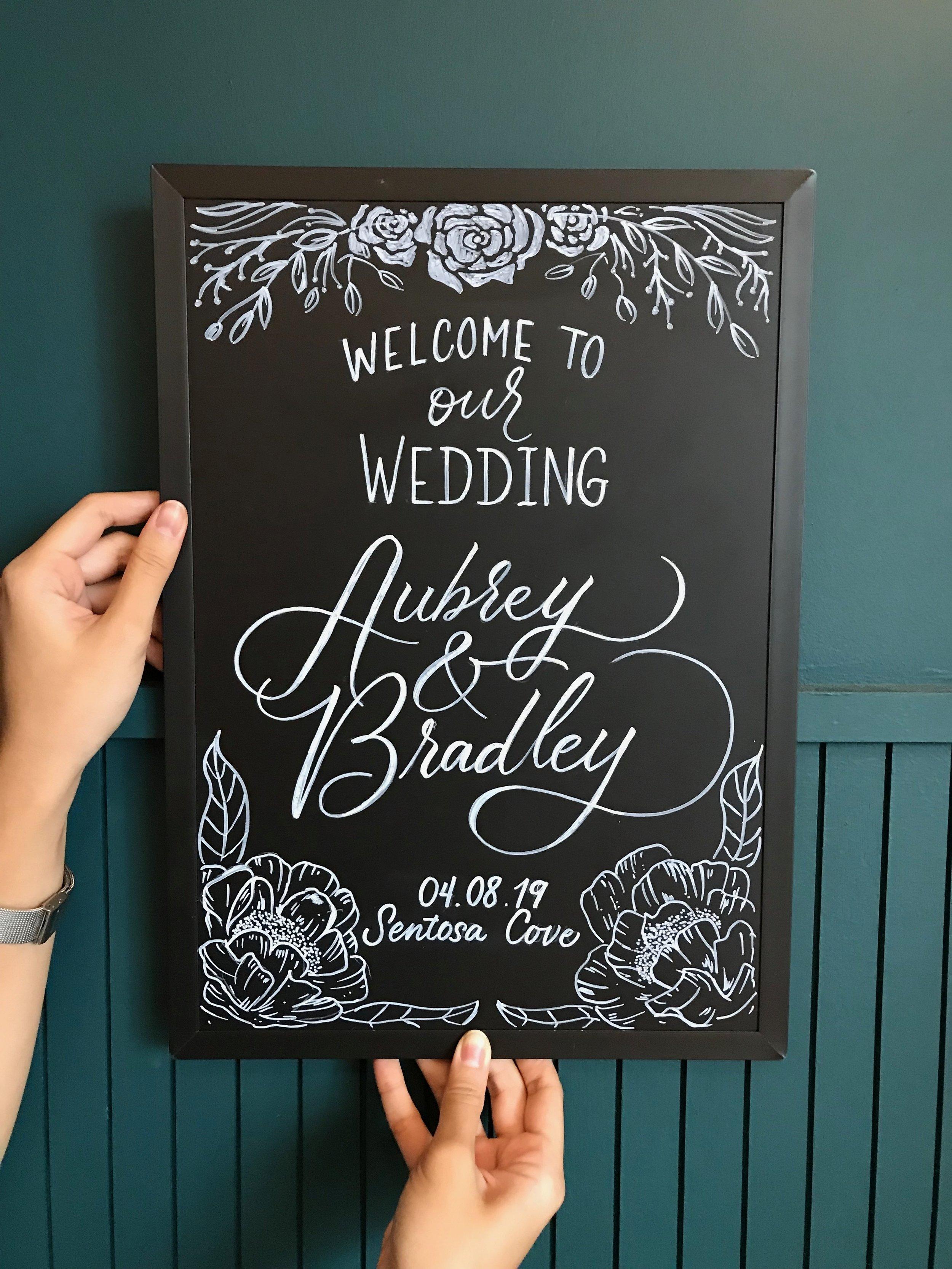 Aubre and Bradley Wedding Chalkboard Signage