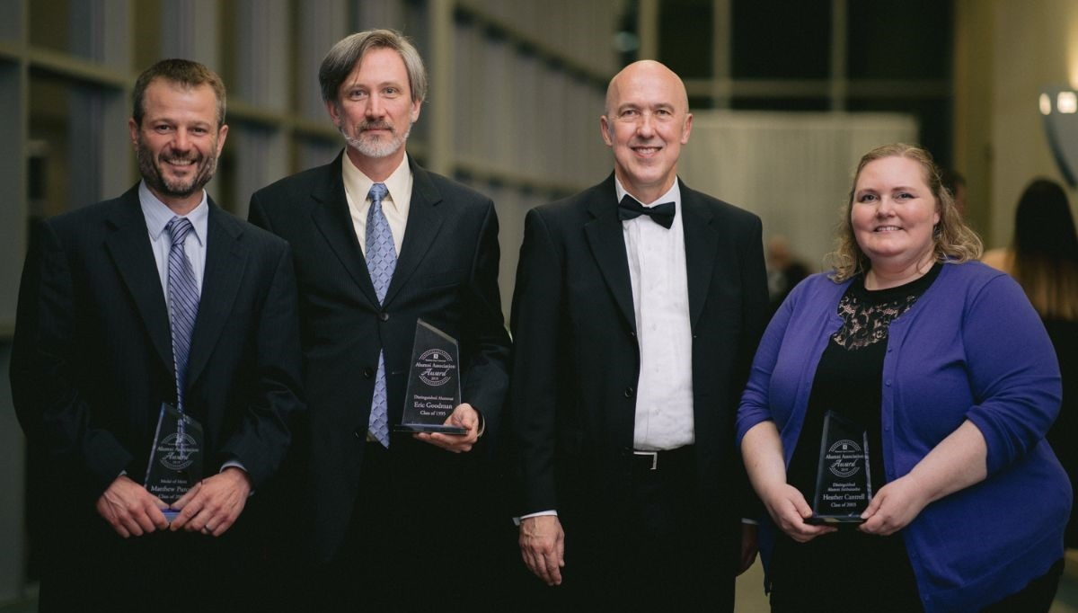 The 2019 Alumni Association Awards recipients. From Left to Right: Matthew Purcell, Eric D. Goodman, President Dr. Jeffrey Bauer, and Heather Cantrell.  Not pictured: Anna Purpero, Megan VanBuskirk, and Anthony Cappel II.