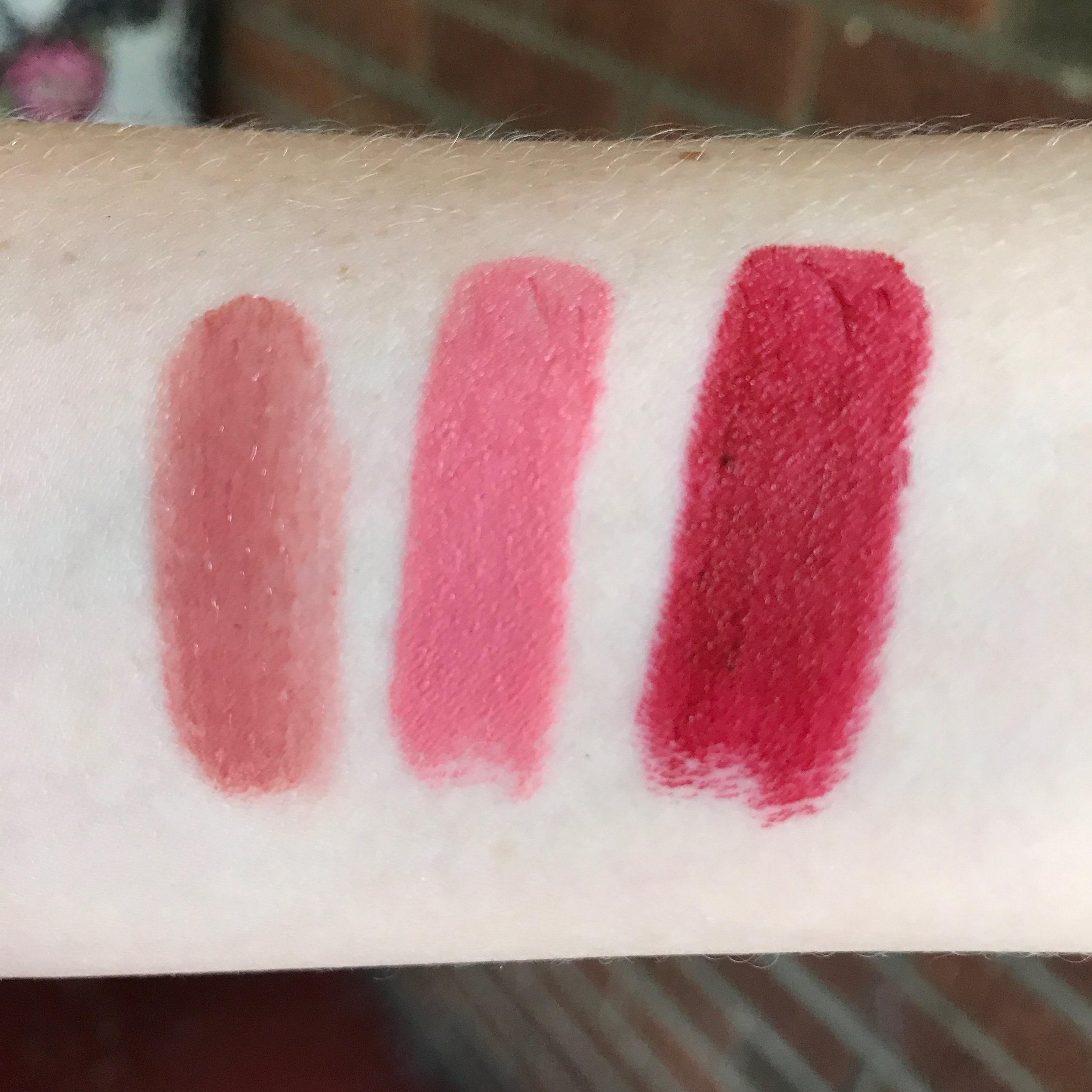Swatches! From left to right: No.9; Portrait Pink and Red Velvet