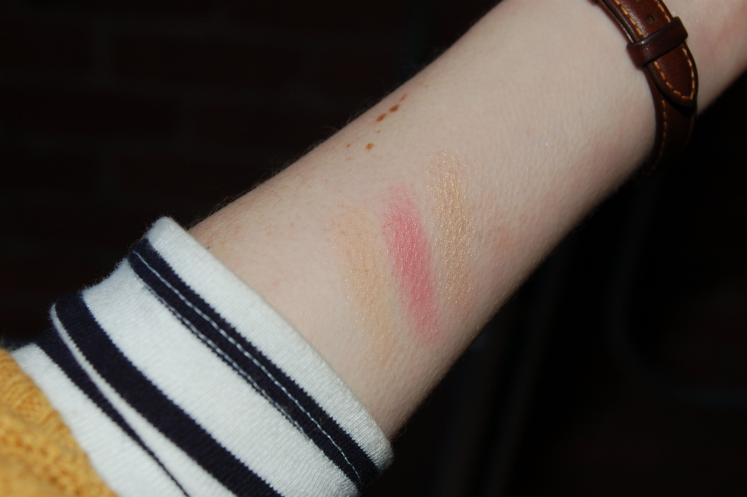Bronzer/lighter blush, blush and highlighter with flash. It was tricky getting swatches of these!