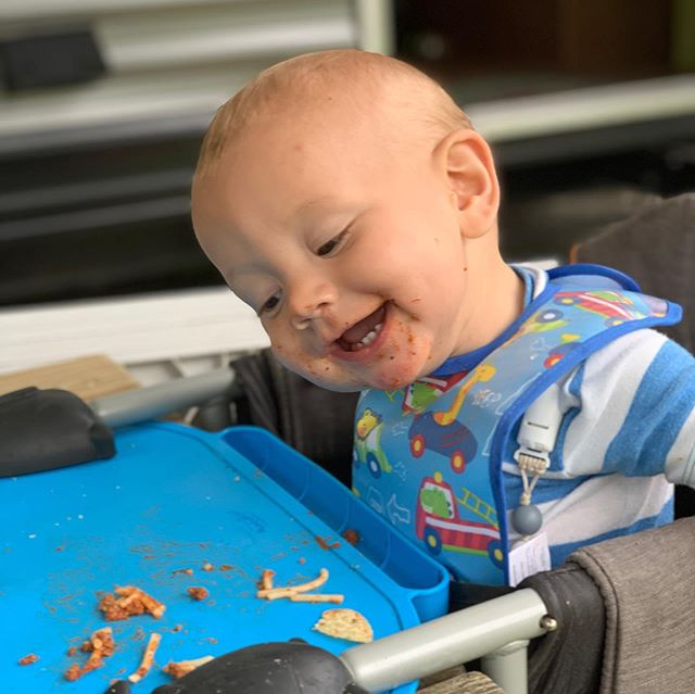 It's Walter's first birthday! He's celebrating by refusing to let me feed him a very messy lunch. He's determined to do it himself! Typical. He's the fourth child and very independent. We're so thankful for the joy he brings us.