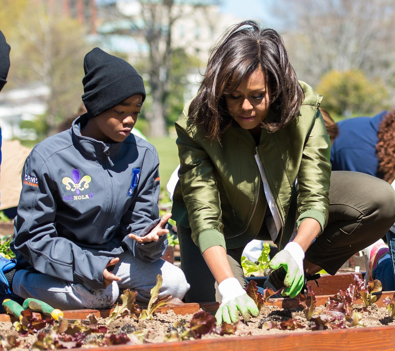 First Lady Michelle Obama planted the White House Kitchen Garden,propelling the school garden movement. - Thanks to NASA/Aubrey Gemignani.