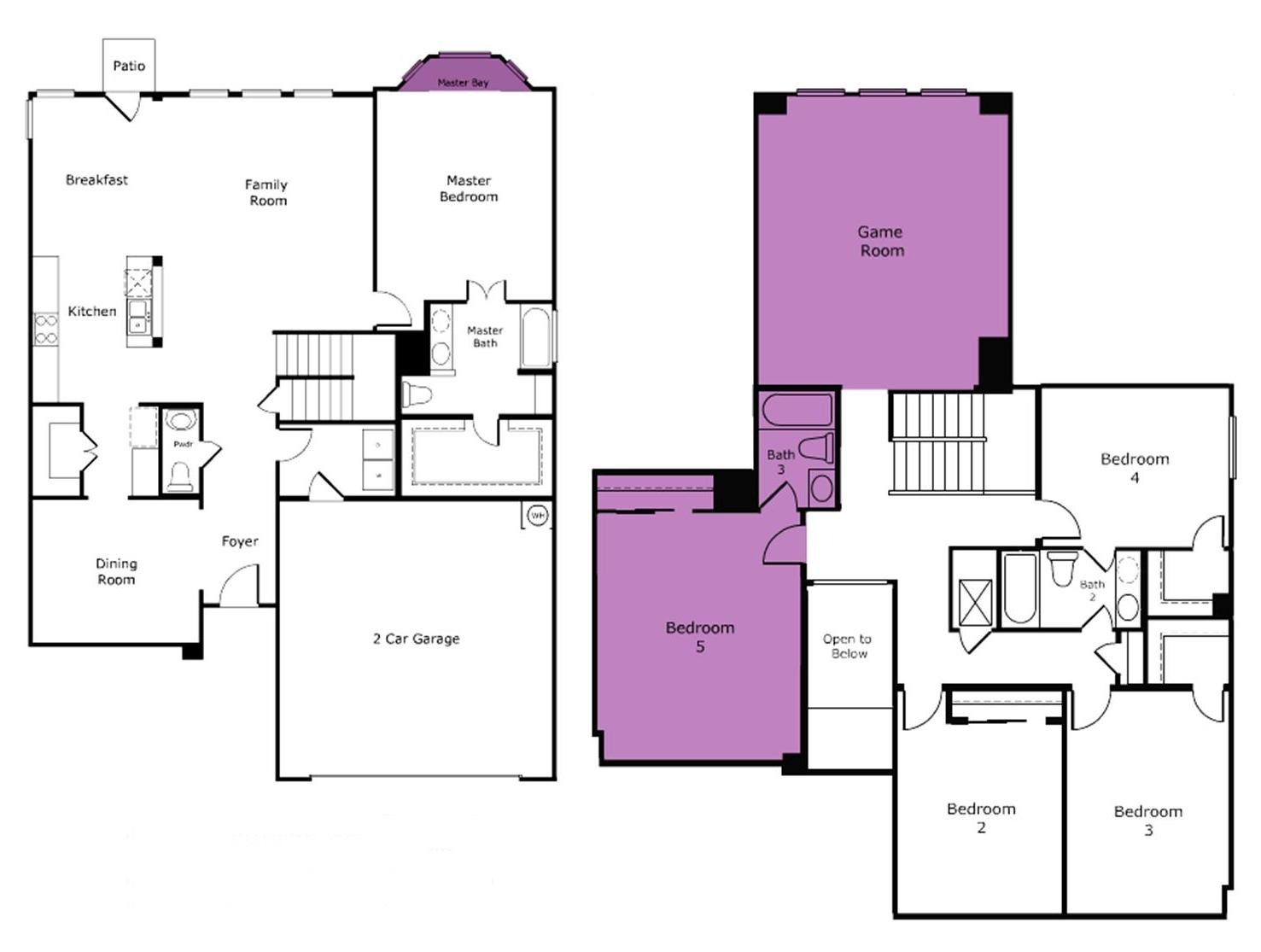Let us design a plan for you - Floor plan with additions highlighted in purple.