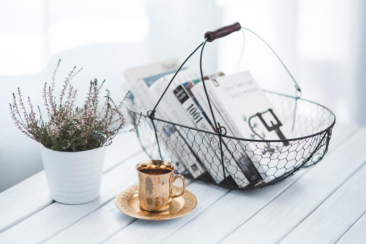 Basket holding books