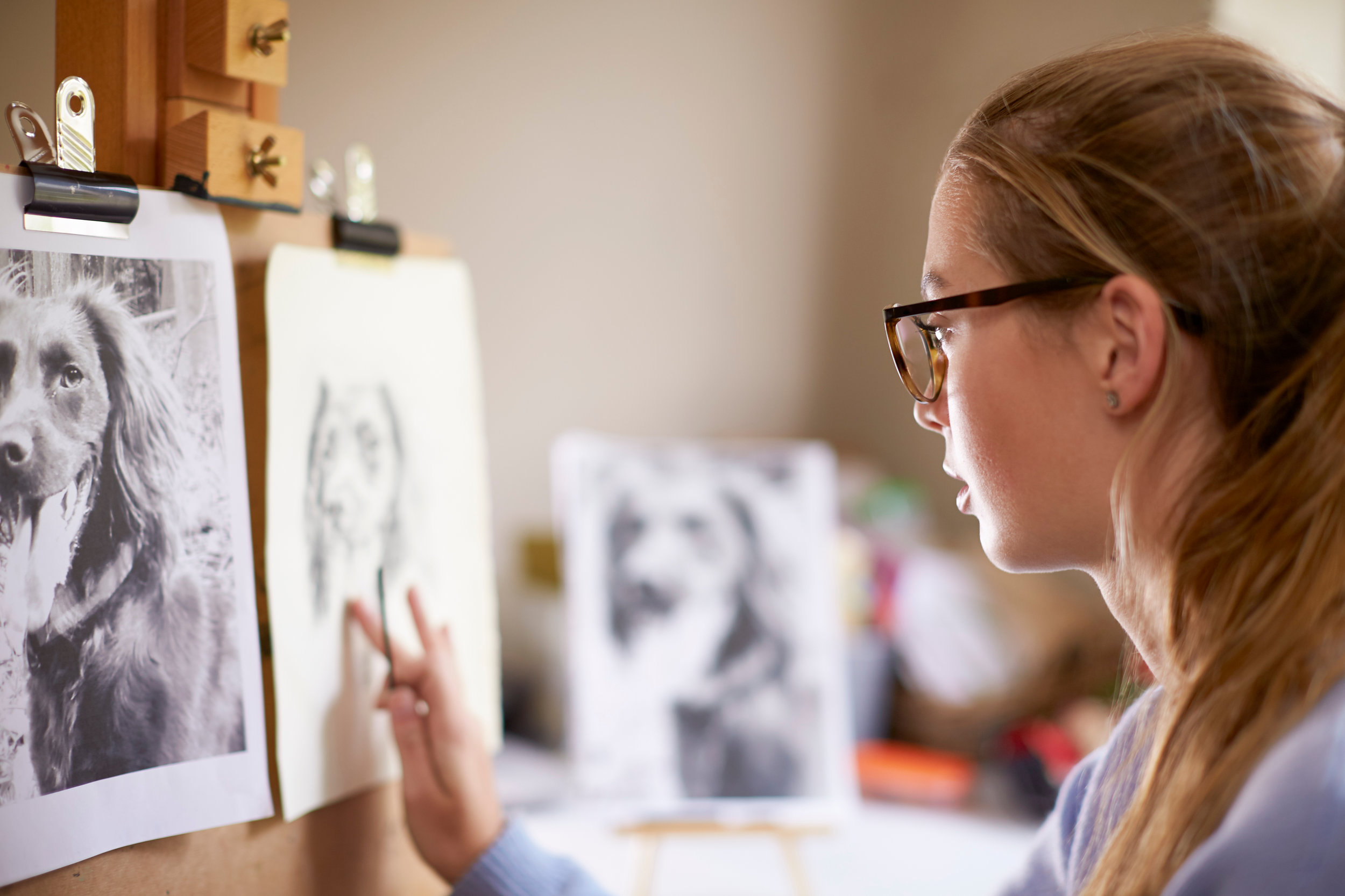 Canva - Side View of Female Teenage Artist Sitting at Easel Drawing Pict.jpg