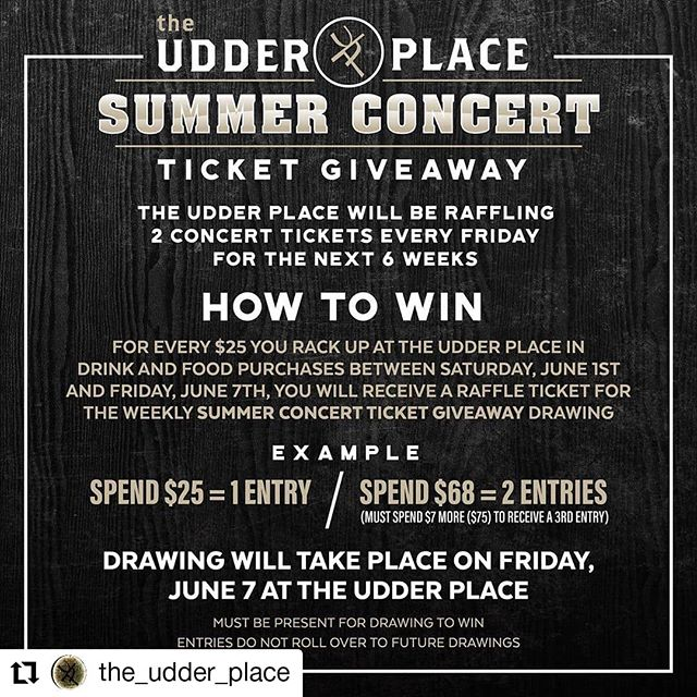 #Repost @the_udder_place • • • • • • June 7th we are launching @the_udder_place Summer Concert Ticket Giveaway! You could W I N two tickets to an upcoming concert! . ‼️HOW TO WIN‼️ . For every $25 you spend on food and drinks at the Udder Place during the week leading up to Friday night you will receive a raffle ticket. Raffle will be held every Friday night and you must be present to win! . ⚠️Entries DO NOT rollover to future raffles. . #theudderplace #downtown #turlock #summerconcertgiveaway #concerttickets #coutrymusic counteybar#livemusic #raffle #wintickets #entertowin #209 Justin Moore