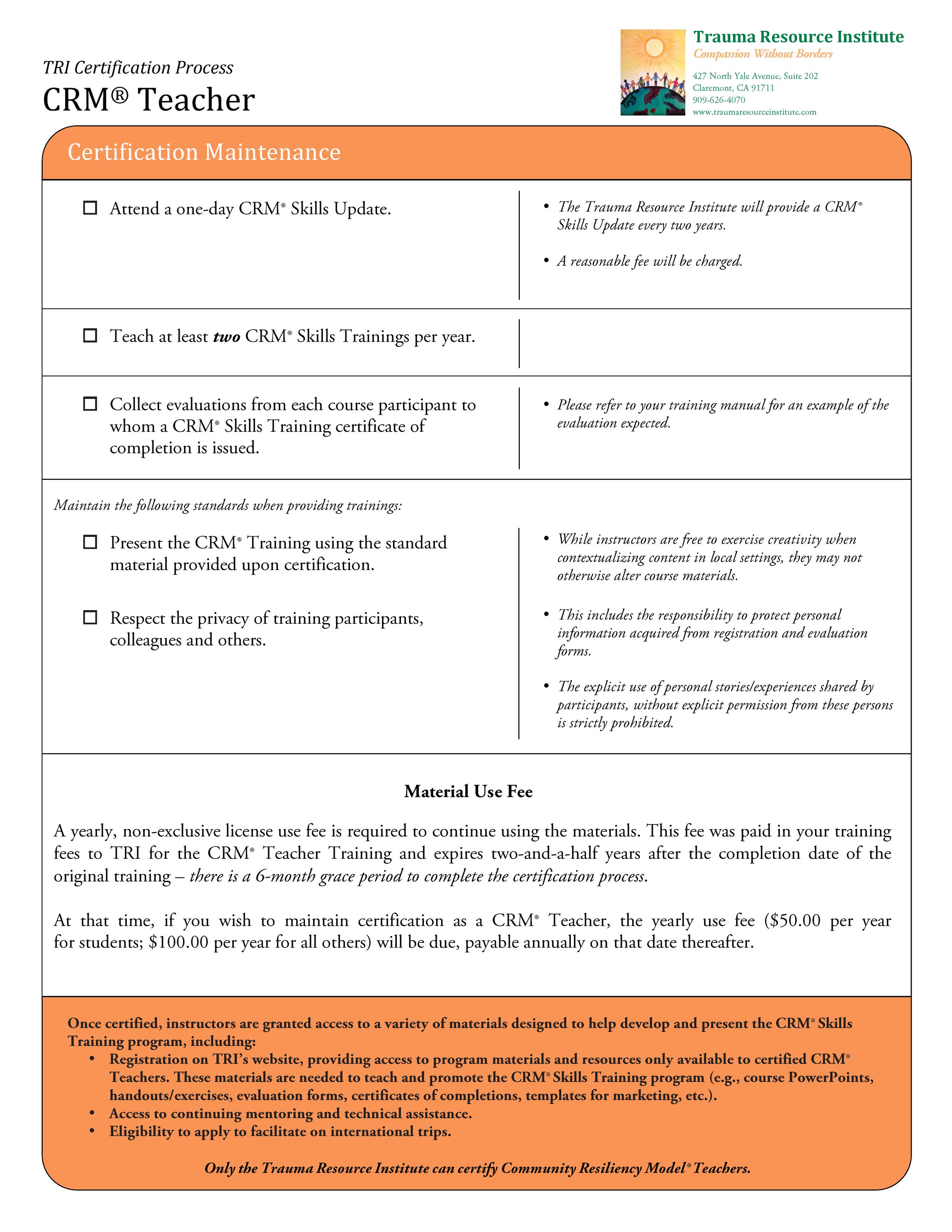Certification Maintenance Requirements