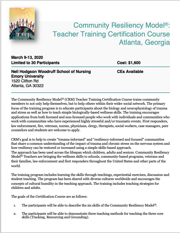 Click Herefor training flyer -
