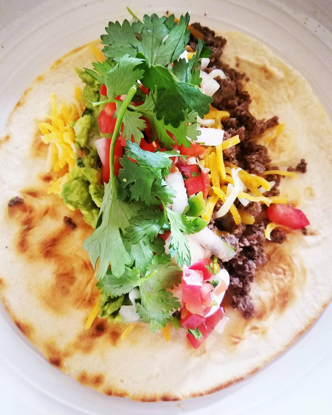 Delicious buffalo meat taco.