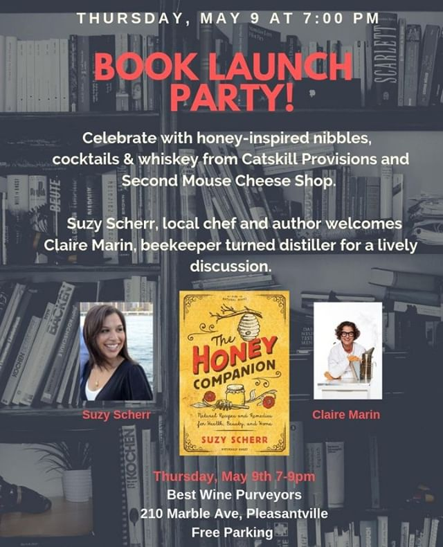 Join us on Thursday, May 9th at @bestwinepurveyors to celebrate the launch of @suzy_scherr's latest book, The Honey Companion! Suzy will be signing books and doing a Q&A with Claire, while you enjoy delicious selections from @secondmousecheeseny and our Queen Bee cocktail, featured in the book. Hope to see you there! 🐝🍯🥃⁣ ⁣ ⁣ @thevillagebookstorepville @countrymanpress #thehoneycompanion #catskillprovisions #nyhoneyryewhiskey #allbuzznosting  #honeywhiskey #ryewhiskey #madewithhoney #rawhoney #honey #bookrelease #booklaunch #readingislife #queenbee #pleasantvilleny