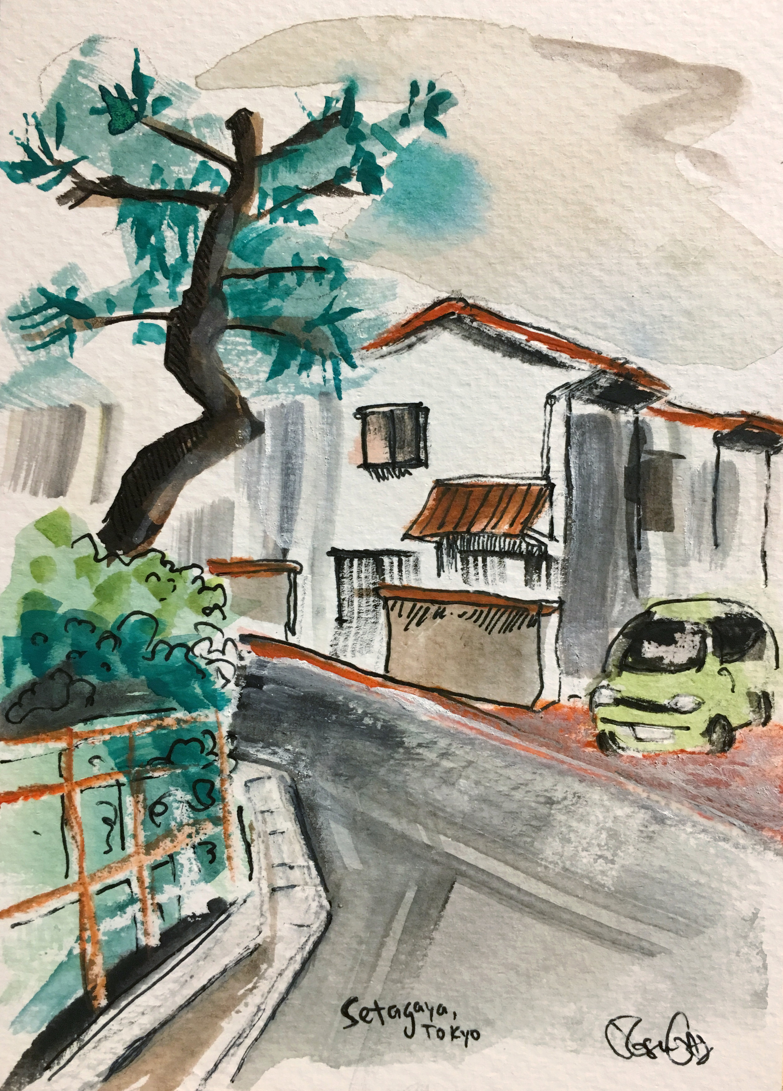 One of the billions of tiny winding streets in the neighborhood in Tokyo where we stayed. Watercolor, ink and gouache.