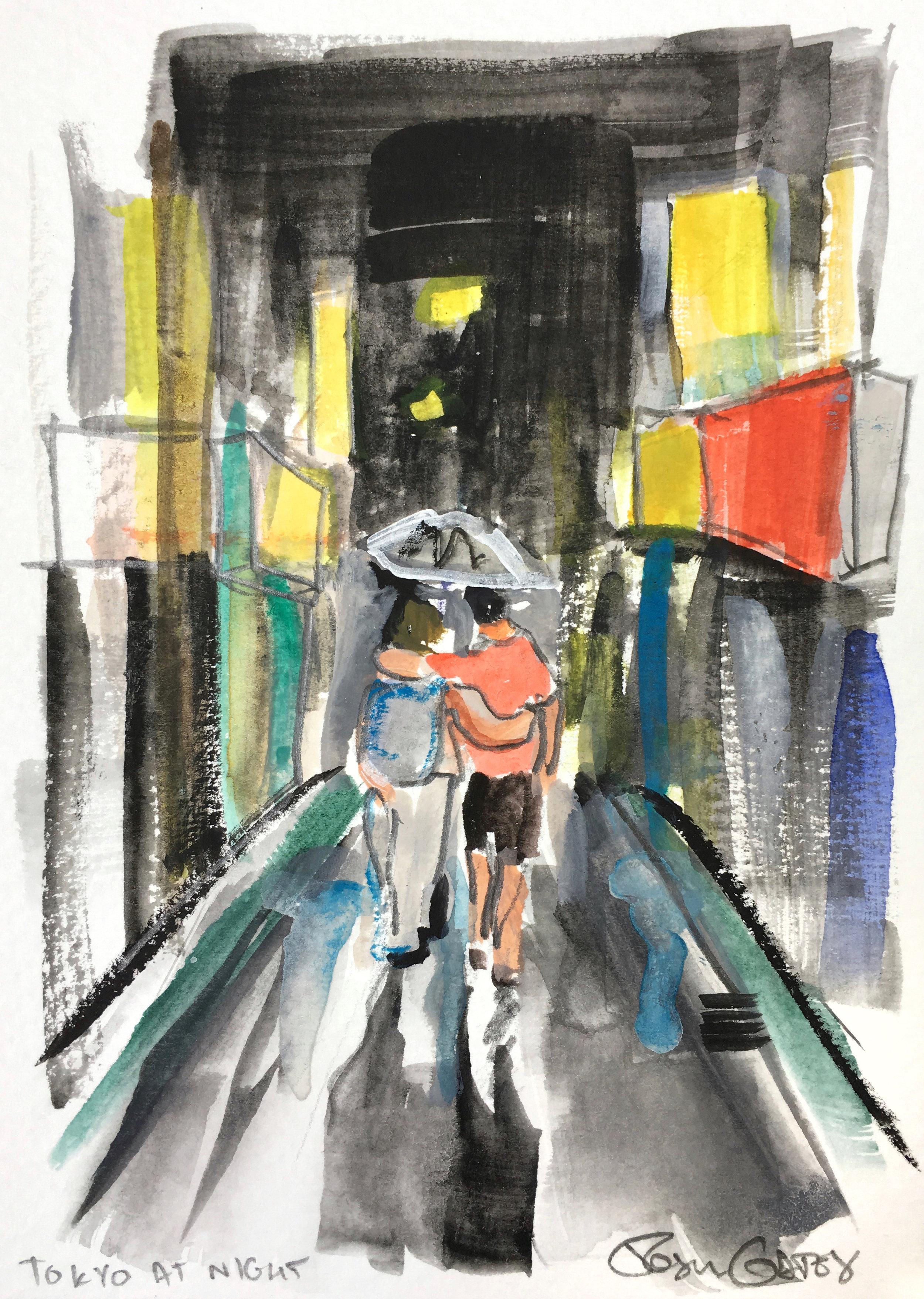 Rainy night in Tokyo. Watercolor, graphite and gouache.