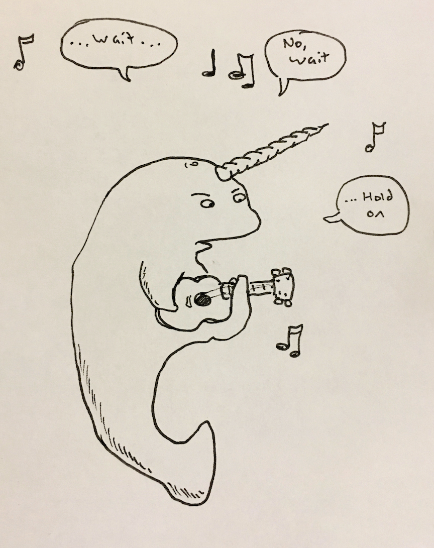 """""""A narwhal playing the ukulele"""""""