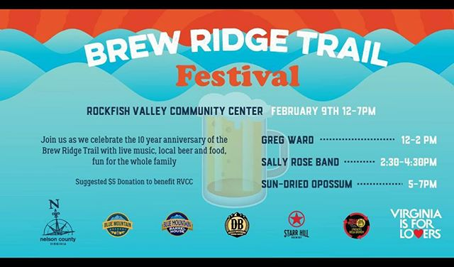 See y'all on Saturday 2/9/19 at the Rockfish Valley Community Center for the 10th Anniversary of the #brewridgetrail
