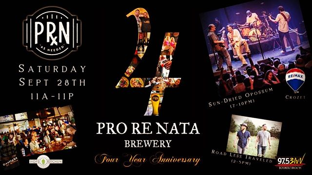 This Saturday 9/28 we'll be playing 7-10pm at @prorenatabrewery 4th Anniversary Party.  #prorenatabrewery #rocknroll  #brewery #beer #jamband