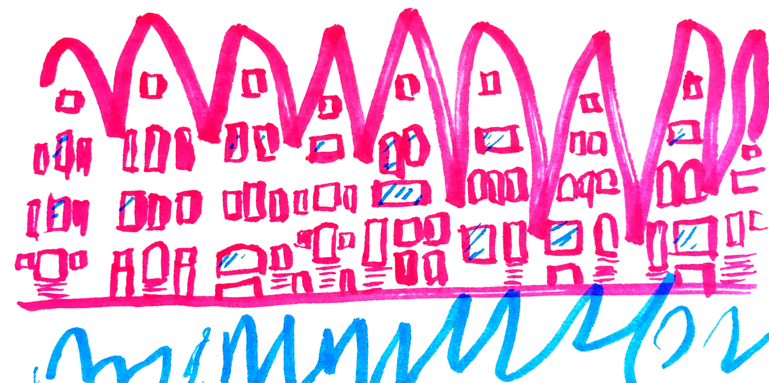 My daughter's name begins with an 'M' so as she is learning to write, naturally it is her favorite letter. She likes to sign things with a sequence of 'MMMMMMM' to which I saw a row of houses and a canal while we were on vacation in Amsterdam.