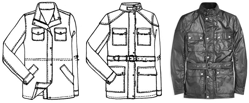 The Slim Parka pattern flat sketch, Corvus Jacket flat sketch, and Belstaff Roadmaster inspiration