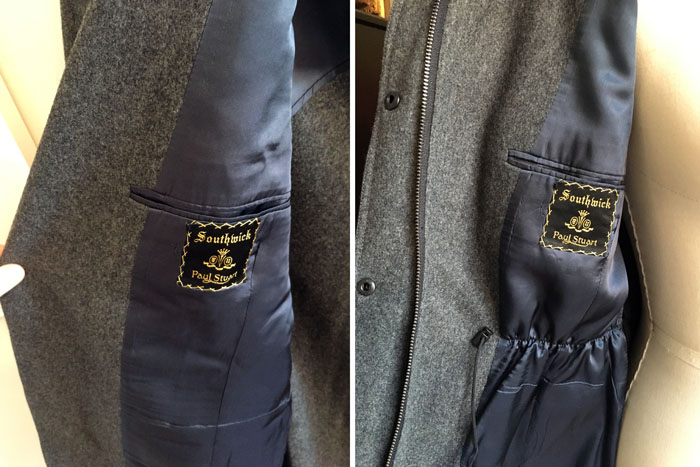 The inside chest pocket in the original jacket, on the left, and in the Corvus jacket on the right.