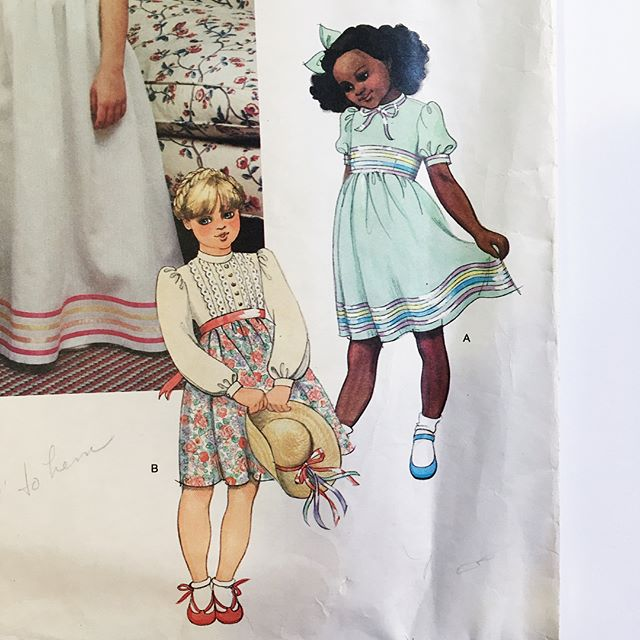 Two more patterns I got on my west-coast trip last month. I'm obsessed with the little girl dresses—but in my size! And I'm in love with the whole look of the second pattern. I think I already own those clothes, so I bought the pattern more as a reminder to wear them together! #vintagesewingpatterns #vogue2453 #seeandsew5302