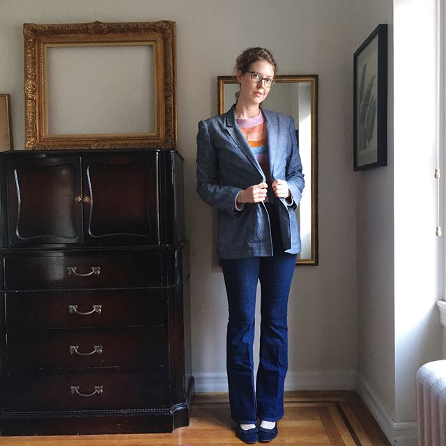 "Am I too late? My #summerofbasics turned into a summer of un-basics. Item 1: 4 days before my July trip to Santa Fe, I decided I should make a soft tailored jacket 🤦‍♀️. I was still sewing on cuff buttons on our layover at DEN. I love it, though, and wore it the whole trip, perfect for desert nights. Item 2: this totally retro drop-shoulder cashmere crew neck, that I knit specifically to go with a pair of #persephonepants I haven't made yet! I'm obsessed with these colors, not basic at all, but somehow goes with everything I own. I guess if your wardrobe is all black and white, ""Neapolitan ice cream"" can be a basic too! Item 3: one of many silk jersey #barrettbralette s I have made this summer. I live in these, and the silk jersey just takes them to the next level. You cannot buy a bra this luxurious. Thanks again to @karentempler for the thought-provoking puzzle that is Summer of Basics! #sob2018finisher #braugust2018"