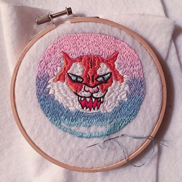 I'm almost done with this🐯patch (that is a gift, and should have been done before Christmas). However, I have really enjoyed sitting around the tree, with a fire in the hearth, embroidering and watching old movies, so I'm not too torn up about it not being finished yet. #wipwednesday #handembroidery #dmcthreads