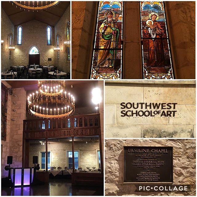 B-E-A-utiful venue for a wedding 💒! @southwestschoolofart and the Ursuline Chapel look amazing! Congrats Jamie and Ethan! 🎉🎉 . #texas #wedding #dj #destination #djlife