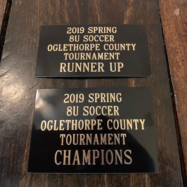 Some custom cut plates for soccer trophies.