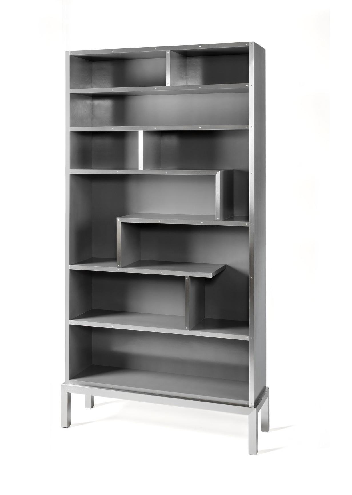 Bookshelf - gray with brushed stainless fascia.jpg